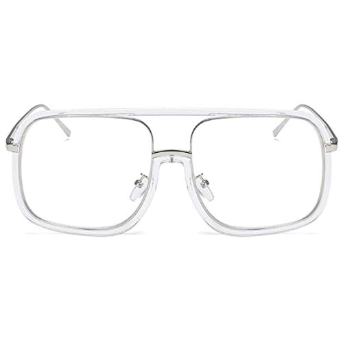 QTT Square Border, Over-The-Counter-Brille, Brille, großer quadratischer Rahmen, No Degree Flat Frame (Farbe : Transparent)
