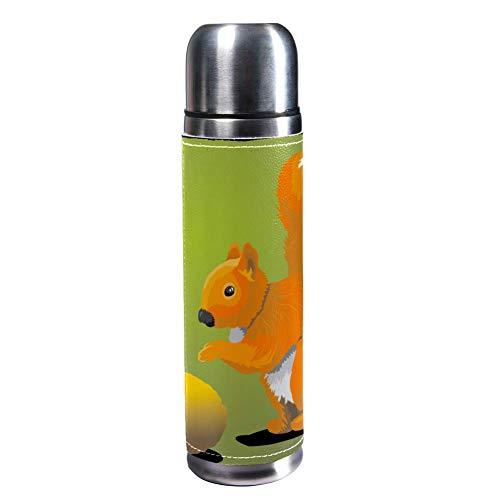 MUMIMI Vakuum-isolierte Edelstahl-Wasserflasche für Sport, Kaffee, Reise, Thermoskanne, echtes Leder, BPA-frei, niedliches kleines Eichhörnchen und Nüsse