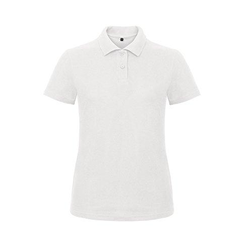 B&C Polo Uni à Manches Courtes - Femme Blanc
