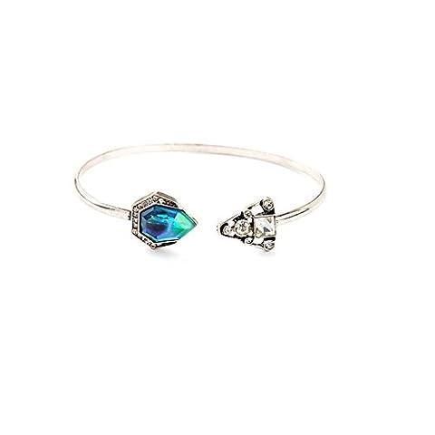 LARES Domi cristal vintage argenté incrustées simulé Bleu opale bracelet jonc classique style géorgien - Nero D'argento Dei Monili
