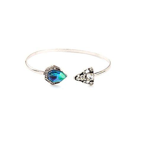 laresdomi Vintage silberfarbenes Kristall Verkrustet Simuliert Blau Opal Classic Georgian Armreif Armband (Gesicht Classic Glückliches)