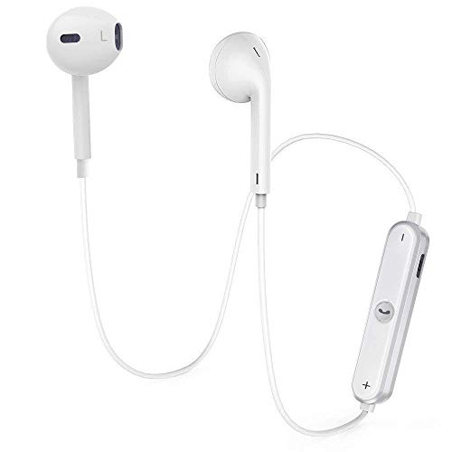 Cuffie Bluetooth Magnetiche Auricolari Wireless Resistente al Sudore con Microfono per iPhone X/ iPhone 8/ iPhone 7 Plus/7/6s/6/5s/5 Samsung Galaxy/Note Huawei e Android Smartphone (Bianco)