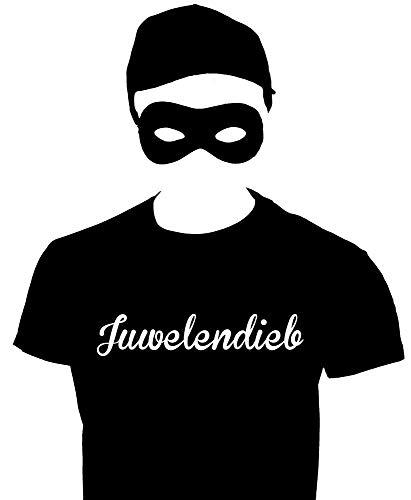 JUWELENDIEB Dieb Kostüm Einbrecher Set Maske T-Shirt Cap schwarz ()