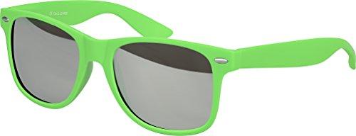 Balinco Hochwertige Nerd Sonnenbrille Rubber im Wayfarer Stil Retro Vintage Unisex Brille mit Federscharnier - 96 verschiedene Farben/Modelle wählbar (Grün - Silber verspiegelt)