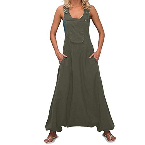 KIMODO® Damen Ärmellos Jumpsuits rückenfreie U-Ausschnitt Playsuit mit Seitentaschen Baggy Lang Overall Große Größen
