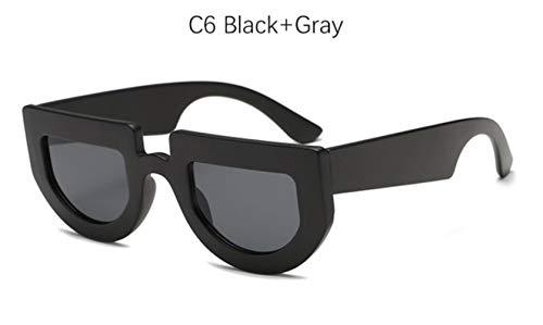 Cranky Orange Square Vintage Shield Sonnenbrille Damenmode Halbrand Sonnenbrille Für Herren Retro kleine Flache Oberseite Gelb Brillen Shades, C6 Schwarz Grau
