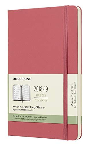 Moleskine DHD1118WN3Y19 - Libreta semanal 18m grande de tapa dura, color rosa margarita