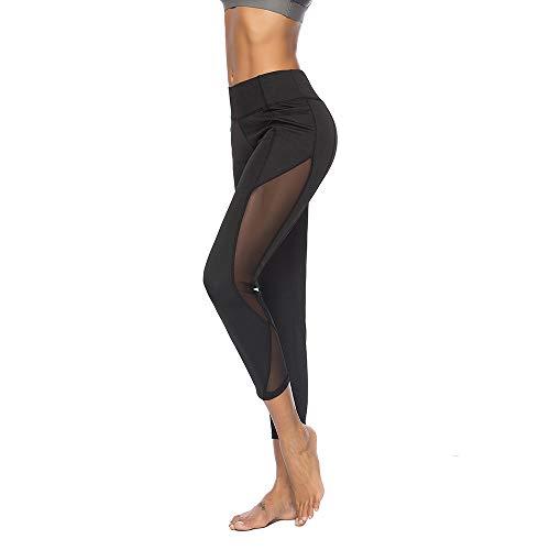 Xmiral Leggings Yoga Sportivi Pantaloni Yoga da Donna Leggins Sportivi Fitness Sexy Collant XL nero