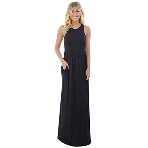 UFACE Frau äRmelloses Einfarbiges Taschenkleid Damen Solide Long Boho Kleid Lady Beach Sommer Sundrss Maxikleid (L, Schwarz)