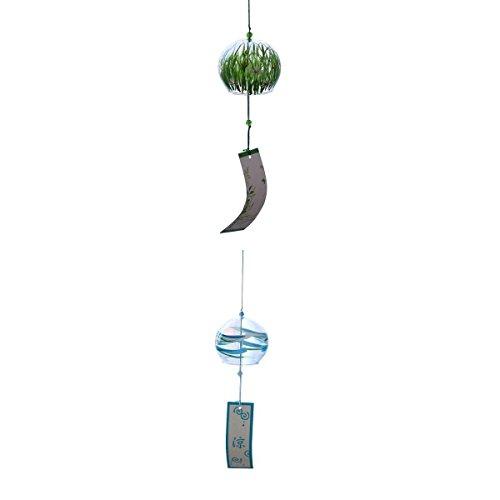 2 × Japanischer Stil Glas Windspiel Windglocke Klangspiel Garten Haus Deko