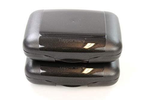 TUPPERWARE SehnSucht To Go schwarz mit Glitzer Sandwichbox Brotbox (2) 32183