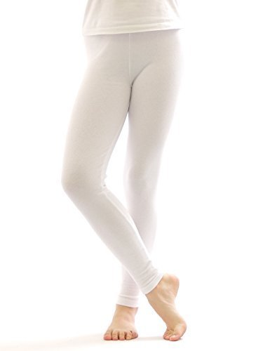 Thermo Leggings leggins Hose lang aus Baumwolle Fleece warm dick weich weiss M (Baumwolle Thermo Leggings)