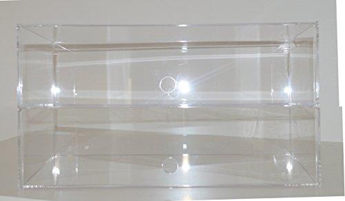 Waren Ständer, Präsenter, Tisch Vitrine, Spuckschutz, Bäckerei Verkaufstheke aus Acryl Glas Groß (2 Tier: 49 (B) x 28 (H) x 24 (T)) (Für Bäckerei Vitrine)