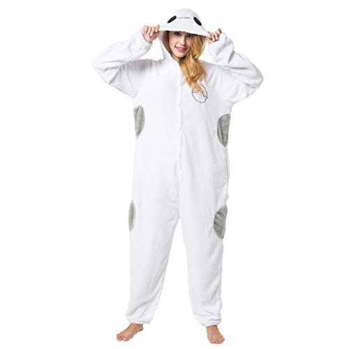 Katara 1744 -Baymax Kostüm-Anzug Onesie/Jumpsuit Einteiler Body für Erwachsene Damen Herren als Pyjama oder Schlafanzug Unisex - viele verschiedene (Paare 2017 Beliebte Halloween Kostüme)