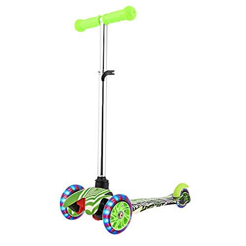 WeSkate Roller Kinder Jungen- Dreirad Kinderscooter 3 4 5 Jahre Kinderroller für Kleinkinder mit Graffiti Deck Einstellbar Mini Scooter PU Rad