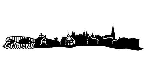 Samunshi® Schwerin Skyline Aufkleber Sticker in 4 Größen und 25 Farben (50x9,7cm schwarz)
