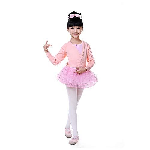 Hawkimin Kinder Mädchen Tanz Ballett Training Dancewear Strickjacke Crossover Langarm Shawl -