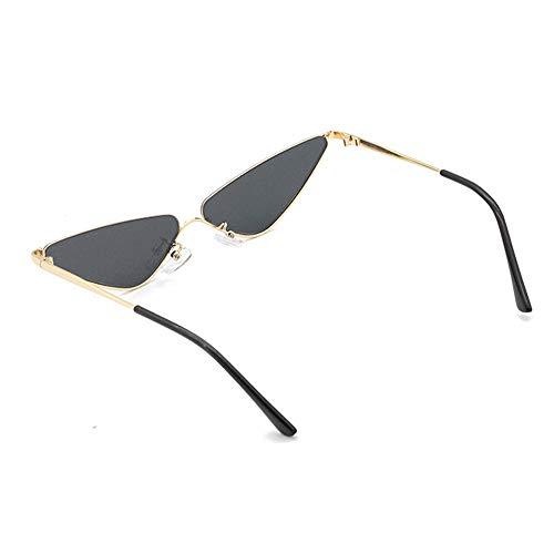 Lxc Europa Und Amerika Dreieck Kleine Grenze Sonnenbrille Persönlichkeit Gold Halbrahmen Cat Eye Brille UV400 Schutz Unisex Zeige Temperament (Farbe : Black)