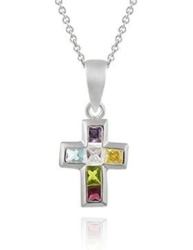 Kreuz Ketten-Anhänger aus bunten Zirkonia Diamanten, Sterling Silber