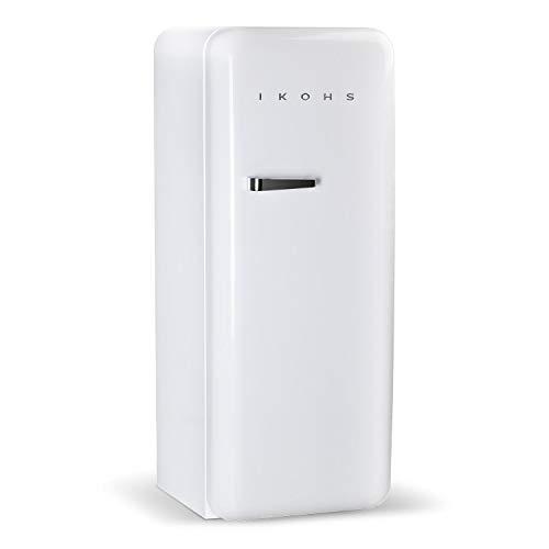 IKOHS Retro Fridge Réfrigérateur design avec contrôle de température réglable, étagères interchangeables, style vintage des années 50, classe énergétique A+ 150 cm blanc