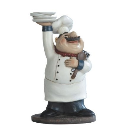 Fat Bistro Chef Serving Holding Plates Poly Resin Kitchen Figurine Statue- Height 10.75 inches by GSC (Bistro-statue)
