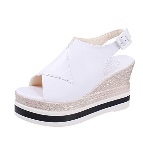 Sandalen Damen Sommer Neu Omingkog Frauen Plattform Fisch Mund Schuhe Keil Sandalen Mode Schnalle (Fisch Plattform Schuhe)