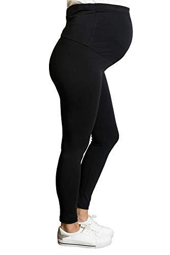 M.M.C. Blickdichte Umstandsleggings für den Alltag und Sport Schwanger Damen Schwangerschafts-Leggings Umstandsmode Thermoleggings (Schwarz, Large)