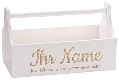 LAUBLUST Geschenkkorb aus Holz - Präsentkorb Personalisiert mit Individueller Wunsch-Gravur - 34x18x20cm, Weiß, FSC®