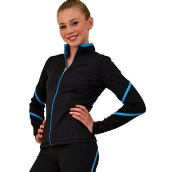 ChloeNoel Eiskunstlauf schwere Poly Spandex Pipings Swirl Jacke J76, Damen Mädchen, weiß, Erwachsene Medium