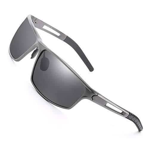 Enafad Herren Sonnenbrille polarisiert für das Fahren-Rechteck-Design Sport Sonnenbrille Mann mit 100% UVA & UVB-Schutz (Gun Frame/Grey Polarized Lens)