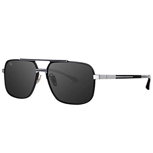 DFZJJ Sonnenbrillen- Sonnenbrillen für Herren UV-polarisierte Sonnenbrillen Aluminium-Magnesium-Legierung Material Präzision Scharnierprozess (Farbe : Schwarz, größe : 15cm) -