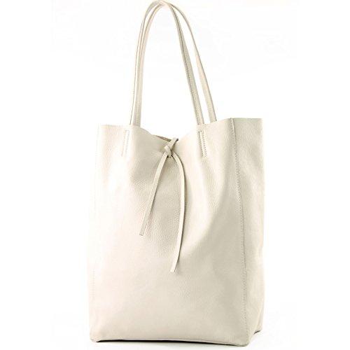 modamoda de - T163 - Ital. Shopper mit Innentasche aus Leder, Farbe:Creme (Damen Elfenbein Handtasche)