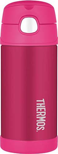 THERMOS 4030.501.035 Isolierflasche FunTainer, Edelstahl Pink 0,35 l, inkl. Trinkhalm, BPA-Free, 12 Stunden kalt