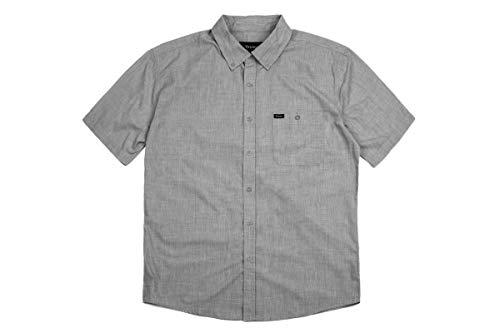 Brixton Herren Central S/S WVN Apparel, Grau, L (Button-up-shirt L/s)