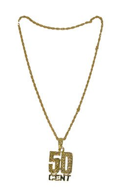 Halskette 50 CENT gold ca. - 50 Cent En Kostüm