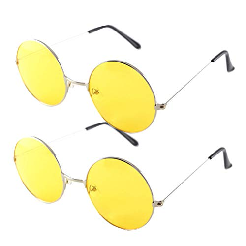 LIOOBO 2PCS farbige runde übergroße Sonnenbrille UV400 Schutz Retro Glasses Gold Frame Yellow Eyeglass