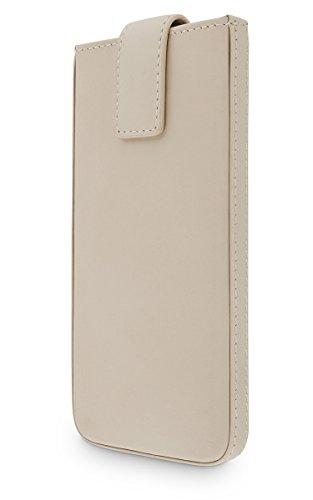 WIIUKA Echt Ledertasche Close Samsung Galaxy S7 Tasche mit Rausziehband Beige Creme Premium Design Hülle