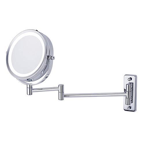 5X Vergrößerung Wand Montiert Makeup-Spiegel Mit LED Licht, Doppelte Seite Für Schönheit Eitelkeit Bad Rasur Kosmetikspiegel - 360°Schwenk Teleskop Falten WENNIU (Doppelte Bad Eitelkeit)