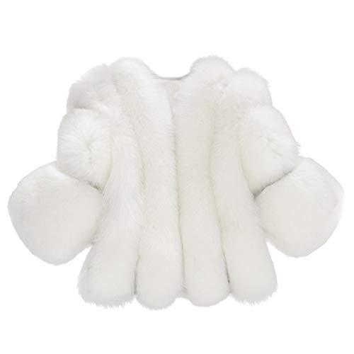 Bluelucon Damen Faux Für Kurze Mantel Winter Jacke Elegant Kunstfell Fellmantel Winterjacke Warm Parka Pelzmantel Strickjacke Große Größe