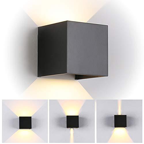 TVGO - Lampada da parete per interni/esterni, moderna, illuminazione LED da parete con angolo di irradiazione regolabile, IP 65, impermeabile, 3000 K, luce bianca calda (7W nero), alluminio, 7 W