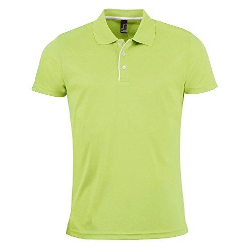 SOLS Herren Pique Polo Shirt Performer, Kurzarm Schwarz