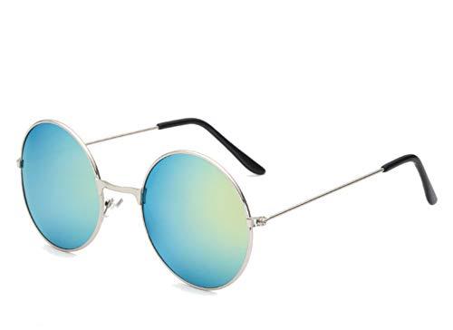 CHICNET Hochwertige Damen Herren Sonnenbrille Rundglas Hippie John-Lennon Brille 400UV rund, runde Gläser, langer Steg, aus Metall und Acryl, verspiegelt und getönt (gelb türkis silber)