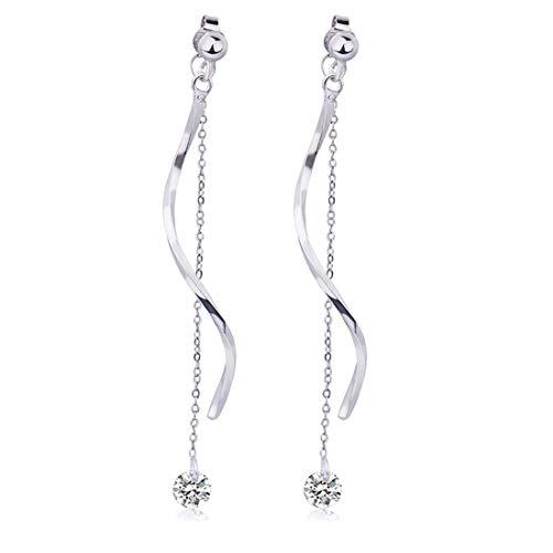 Ms. Swan 925 Sterling Silber S-förmige Gewellte Quaste Lange Diamant Ohrringe Hängend,Ohrstecker oder Lange Ohrringe
