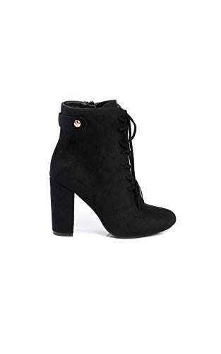 IKRUSH Women's Kiki Faux Suede Lace Up Tassel Ankle Boots Size in BLACK Size (Black Up Lace Womens Boots)