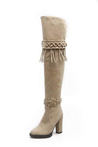 Tacones de Mujer con Flecos Botas Altas con Cordones Sobre la Rodilla, Beige, 37