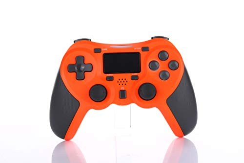 CuleedTEK PS4 Wireless Controller Bluetooth Rechargeable Game Controller for PS4/PS4 Pro/PS4 Slim, with Dual Vibration Function, Touch Pad, Light Bar & 3.5mm Audio Jack (Third-Party Product) (Orange) - Pro-motor Light