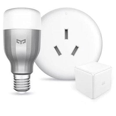 Xiaomi Smart Home Dispositivos color blanco Yeelight RGBW E27 LED bombilla/Mi Compañero de aire acondicionado en casa/Magic controlador AC 220 V para Hogar