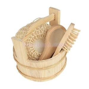 Alcoa Prime Wooden Wood Bucket Bath Body Tool Kit With Comb Brush Sponge Mirror