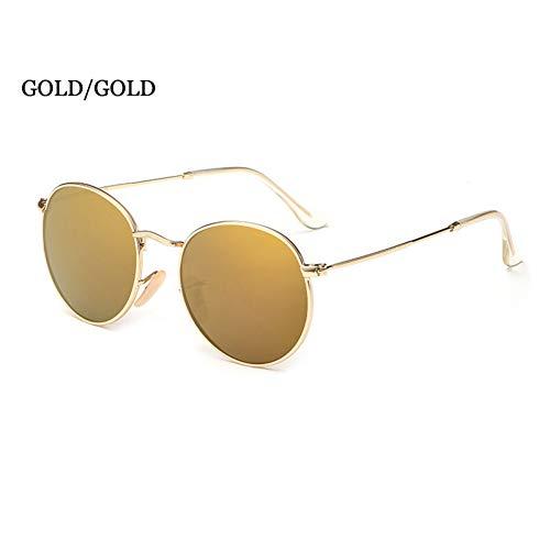 ZRTYJ Sonnenbrillen Unisex Retro Metall Runde Sonnenbrille Männer Polarisierte Markendesigner Kleines Gesicht Hip Hop Spiegelgläser
