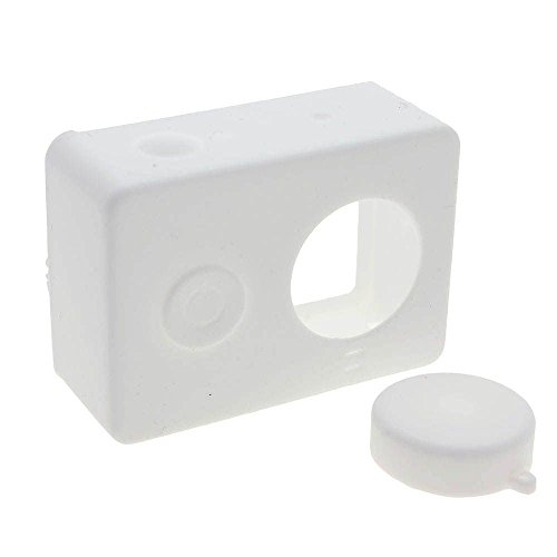 Preisvergleich Produktbild Weiche Silikon-Kasten-Haut mit Objektivabdeckung für XIAOMI Yi-Action-Kamera Weiß
